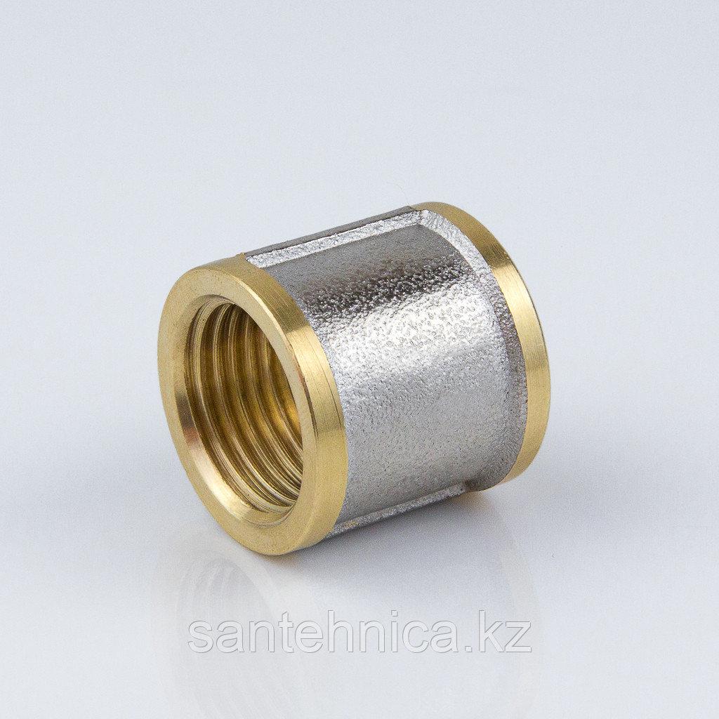 """Муфта латунь никель Ду 15 (1/2"""") внут. резьба"""
