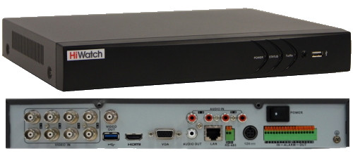 DS-H208UA - 8-ми канальный Turbo HD5.0-TVI/AHD/CVI/CVBS гибридный видеорегистратор  с разрешением записи до 5MP на канал + 4 IP-канала с разрешением 6