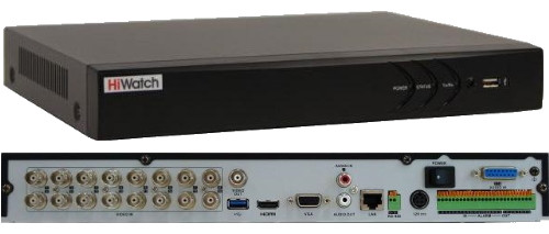 DS-H216UA - 16-ти канальный Turbo HD5.0-TVI/AHD/CVI/CVBS гибридный видеорегистратор  с разрешением записи до 5MP на канал + 8 IP-каналов с разрешением