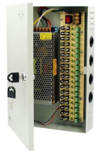 PAM12120 - Блок питания корпусный многоканальный: 170В~264 В, 47-63 Гц  / 18 х DC выходов - 12В 10.0A, 120 Вт. Корпус - металл.