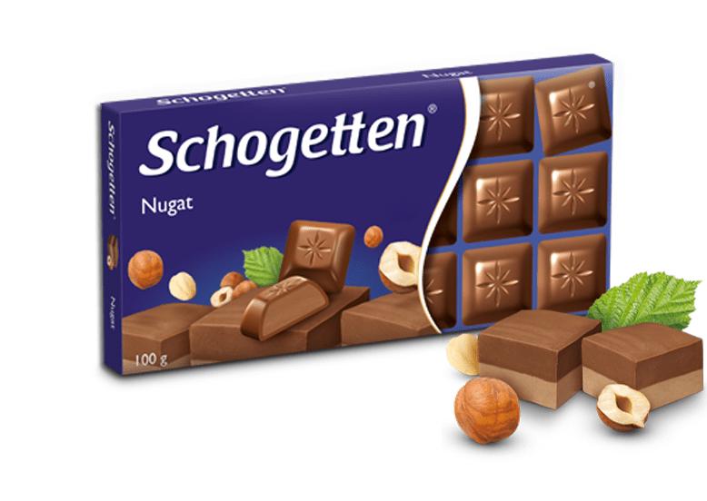 Молочный шоколад Schogetten Nugat Нуга praline noisettes  100гр (15 шт. в упаковке)