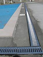 Лоток пластиковый SteeStart DN100 H180 с оцинковонной решеткой и крепежами, фото 1