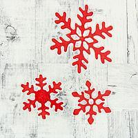 """Наклейка многоразовая на стекло """"Снежинки"""" 11,8 см, 7,5 см, красные, фото 1"""