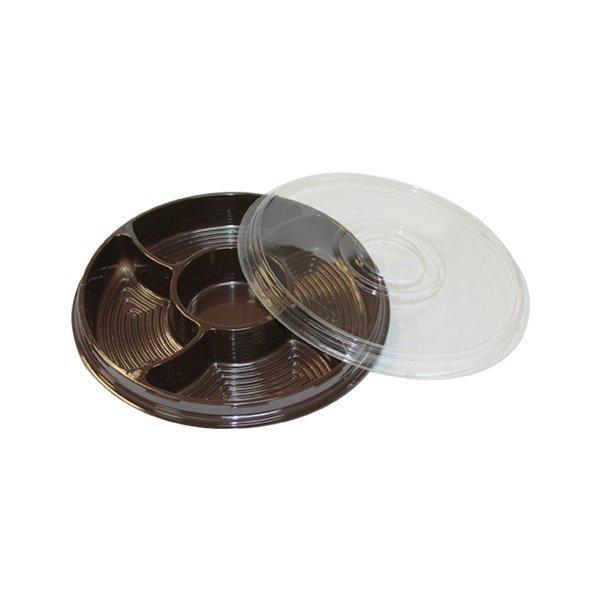 Менажница 5-секц., кругл., d 260мм, коричн., с прозрачн. крышкой в комплекте, ПЭТ, 100 шт