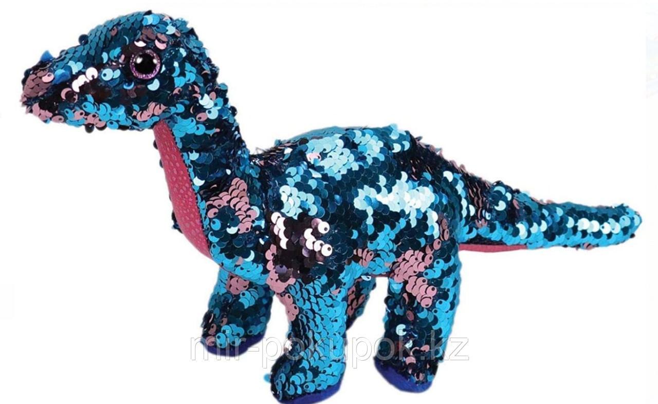 Мягкая игрушка  динозаврик из пайеток 26 см