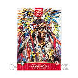 Альбом для рисования с бумагой для акварели на клею ArtBerry® Индеец, А4, 20 листов