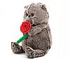 Мягкая игрушка Кот Басик 25 см с розой, фото 2