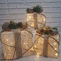 """Новогодняя светодиодная фигура """"Подарки"""" с золотым бантом, фото 1"""