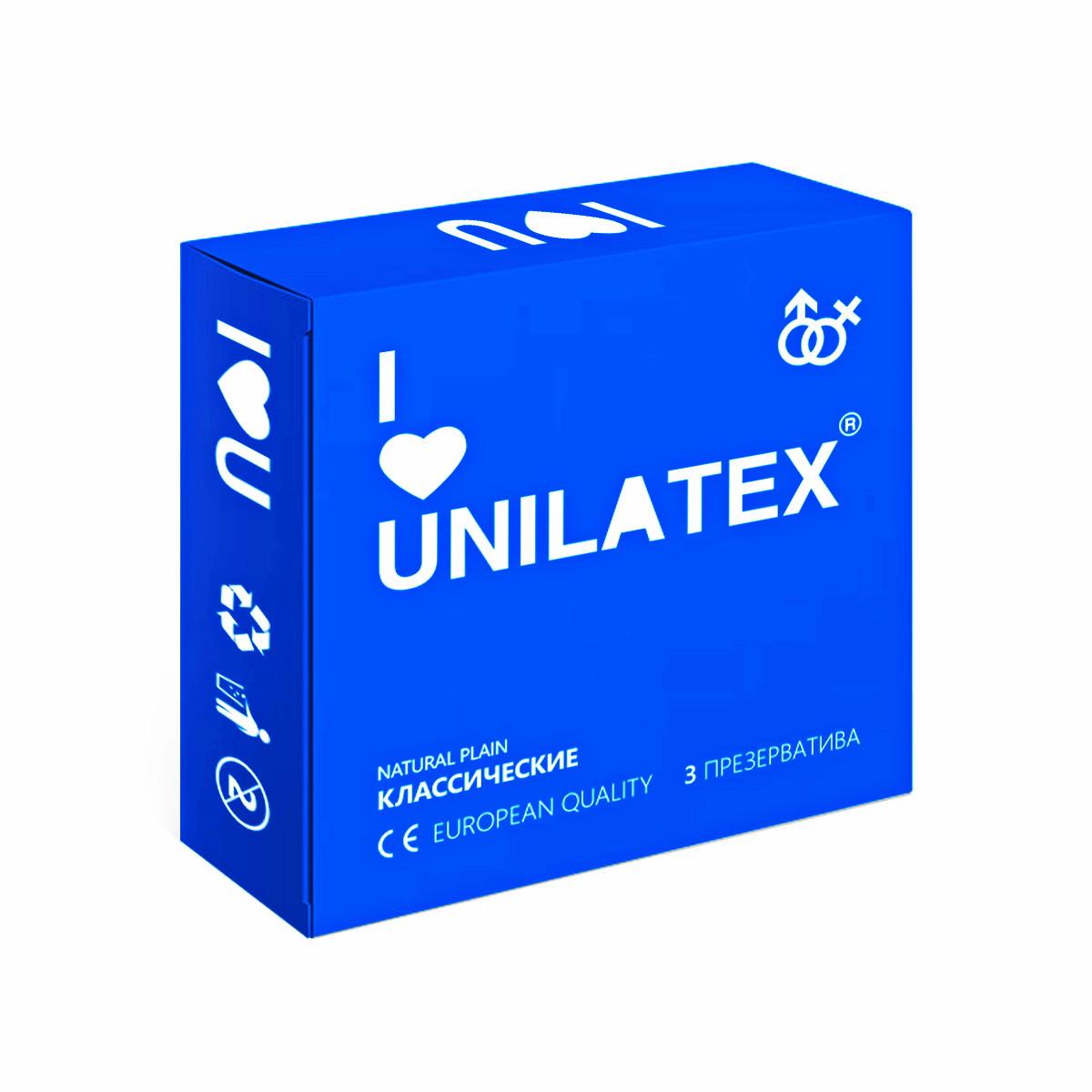 """ПРЕЗЕРВАТИВЫ UNILATEX """"NATURAL PLAIN"""" классические, 3 шт., арт. 3002"""