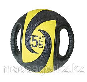 Мяч тренировочный (медицинбол) с хватами, 5 кг
