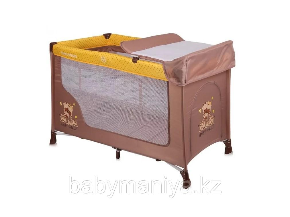 Детская кровать-манеж Lorelli San Remo 2 Бежево - Желтый / Beige & Yellow FAMILY 1803