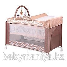 Кровать - манеж VERONA 2 Plus Бежево-коричневый / Beige&Brown Lines 1940