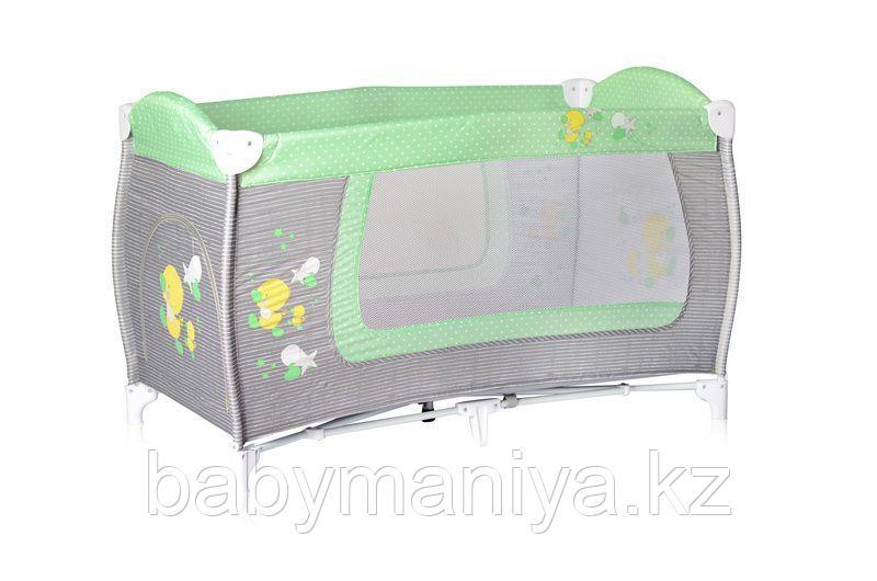 Кровать-манеж Lorelli 1  Danny Серо-зеленый / Grey&Green Ducks 1818