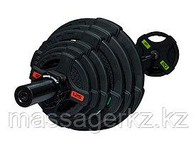 Штанга олимпийская 128 кг (диски с двумя хватами, черный гриф)