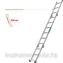 СИБИН ПРП-36 профессиональные рабочие подмости, 3 x 6 x 3 ступени, алюминиевые, складные с колесами и съемной, фото 3