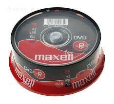Диски DVD-R  MAXELL -шпиндель 4,7gb 120 мин 25шт