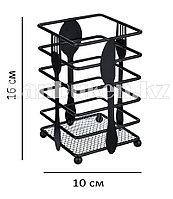 Подставка для столовых приборов металлическая матовая черная квадратная