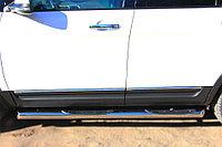 Ford Explorer 2012-2016 Пороги труба d76 с накладкой (вариант 1)