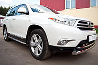 Toyota Highlander 2010-2013 Пороги труба d42 с листом(Лист алюм, проф. нерж) (Вариант1