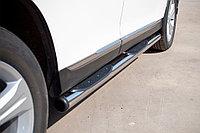 Toyota Highlander 2010-2013 Пороги труба d76 с накладками (вариант 2)
