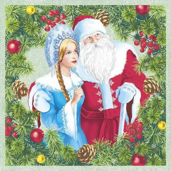"Салфетки 33х33см, 3 сл., ""Дед Мороз и Снегурочка"", Бумага, 20 шт"