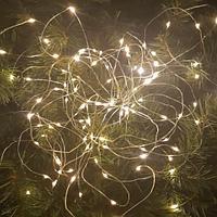 """Гирлянда новогодняя светодиодная """"Капли росы"""" - 10 метров, 100 лампочек, теплый свет, светит постоянно"""