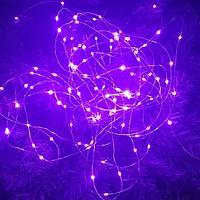 """Гирлянда новогодняя светодиодная """"Капли росы"""" - 10 метров, 100 лампочек, фиолетовый свет, светит постоянно"""