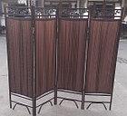 Ширма металлическая трубками (4-х секционная) темно-коричневого цвета, фото 3