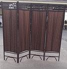 Ширма металлическая трубками (4-х секционная) темно-коричневого цвета, фото 4