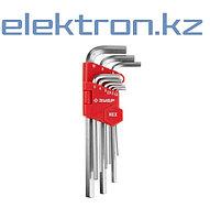 Набор ЗУБР Ключи МАСТЕР 27460-2_z02 имбусовые длинные, Cr-V, сатинированное покрытие, пластик. держатель, HEX