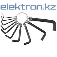Набор DEXX: Ключи имбусовые, оксидированные, на кольце, HEX, 1,5-2-2,5-3-3,5-4-5-5,5-6-8, 10шт 27403-H10