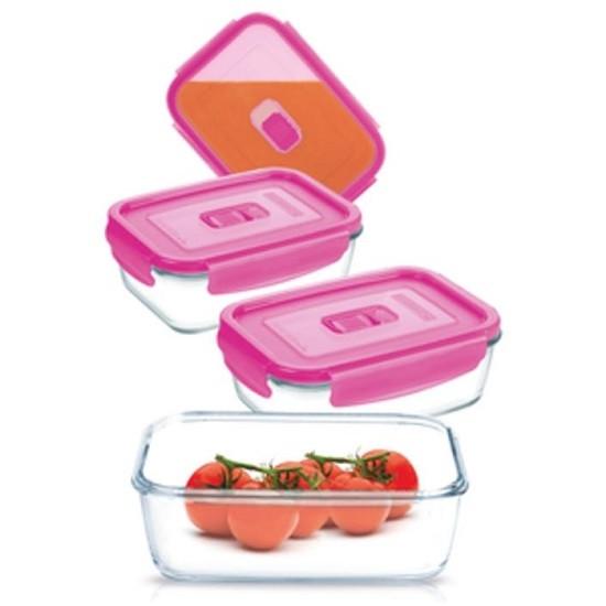 Набор контейнеров Pure Box Rect Pink 4шт. (крышка с клапаном)