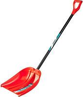 СИБИН ЛПА-410 лопата снеговая, пластиковая с алюминиевой планкой, эргономичный алюм. черенок, V-ручка, 410 мм., фото 1