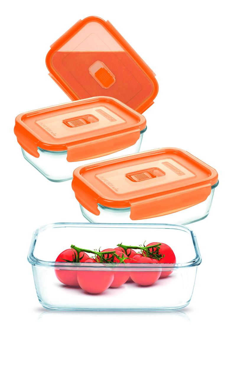 Набор контейнеров Pure Box Rect Orange 4шт. (крышка с клапаном)