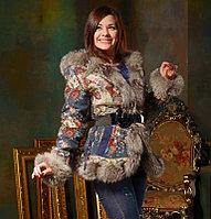 Дизайнерская куртка с мехом черно-бурой лисицы