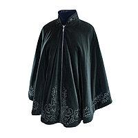 Бархатное пальто-пончо с авторской вышивкой