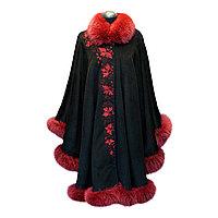 Пальто-пончо черный кашемир с мехом песца бордо
