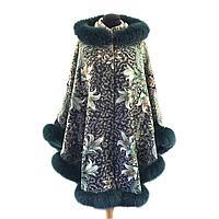 """Пальто пончо из павловопосадского платка """"Бархатная ночь"""" с мехом песца"""