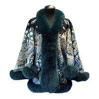 """Эксклюзивное пальто """"Летучая мышь"""" из павловопосадского платка """"Бархатная ночь"""""""