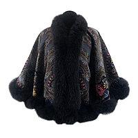 Куртка женская из павловопосадского платка с мехом