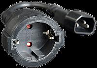 Переходник-удлинитель CyberPower с IEC С14(Male) на евро-розетку(Female) типа Schuko (кабель-15 см.), фото 1