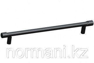 Мебельная ручка скоба, замак, размер посадки 192мм, отделка черный матовый