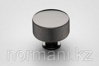 Ручка-кнопка, отделка никель черный глянец