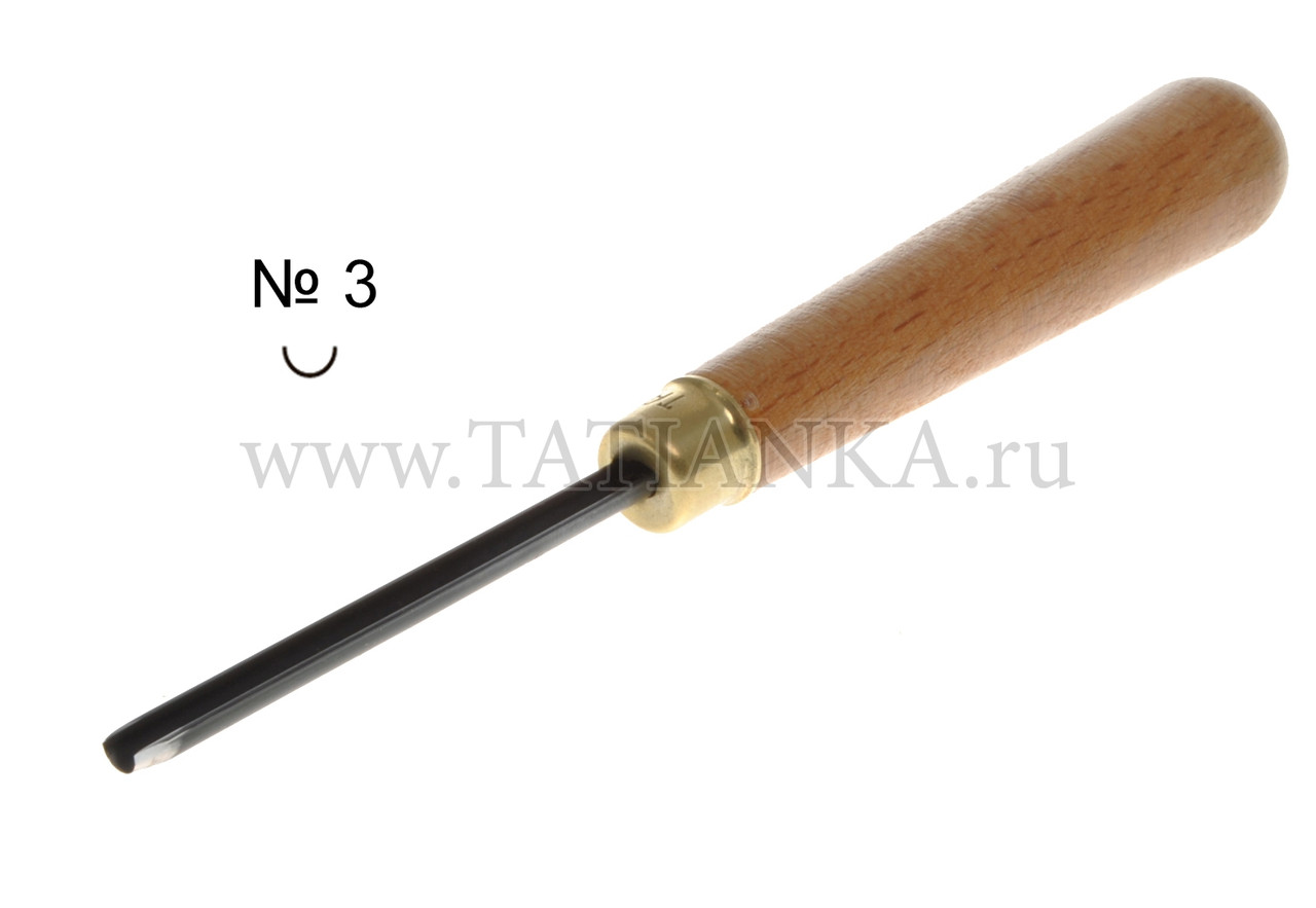 Стамеска прямая - полукруглая № 3, 4 мм