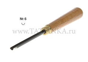 Стамеска прямая - полукруглая № 6,  6 мм