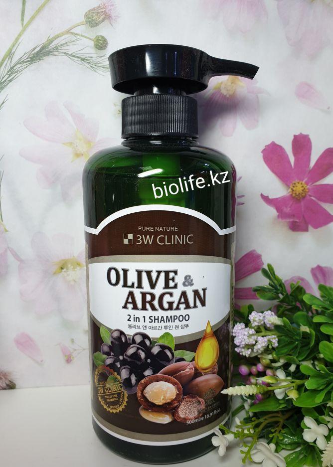 Шампунь для волос Аргановое масло и Олива 3W Clinic Olive & Argan 2 in 1 Shampoo 1500 ml.