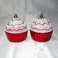 """Новогодние ёлочные игрушки """"Тортики"""" - 2 шт (8,5 см), фото 1"""