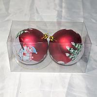 """Новогодние игрушки украшения на ёлку """"Шары"""" - 2 шт (8 см), фото 1"""