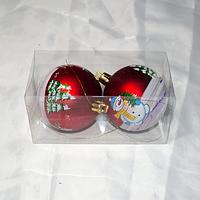 """Новогодние игрушки украшения на ёлку """"Шары"""" - 2 шт (6,5 см)"""