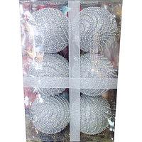 Набор новогодних ёлочных игрушек - 6 шт (O 8 см) серебро, фото 1